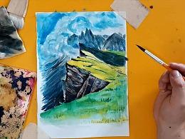 水彩画叠色法画云雾高原