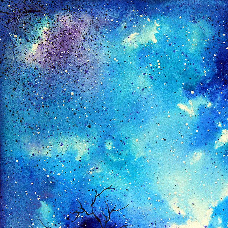 《蓝色星夜》原创水彩画图片