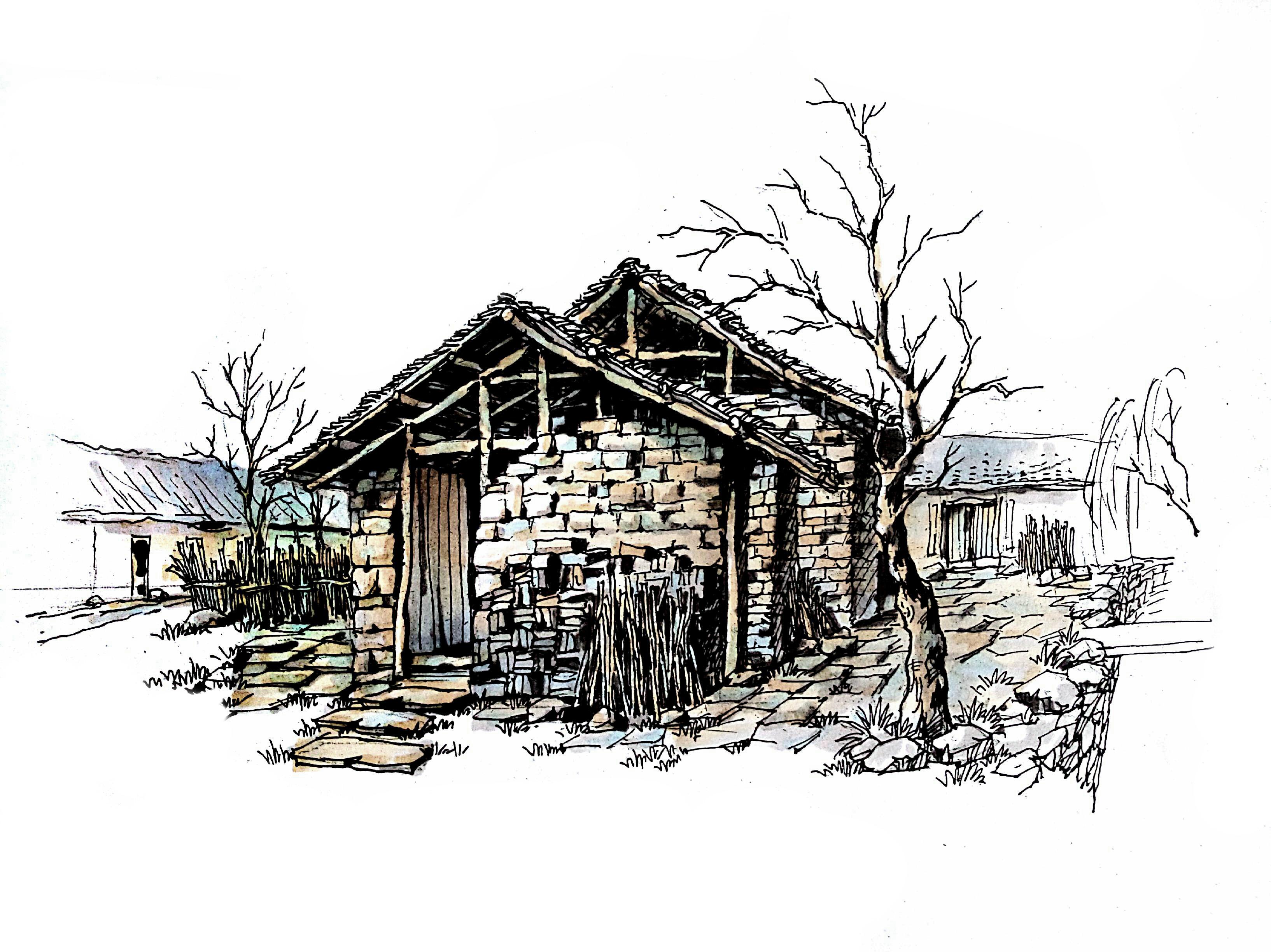 一点透视室外建筑手绘