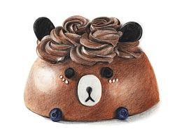【驴大萌彩铅教程340】手绘甜点 小熊蛋糕
