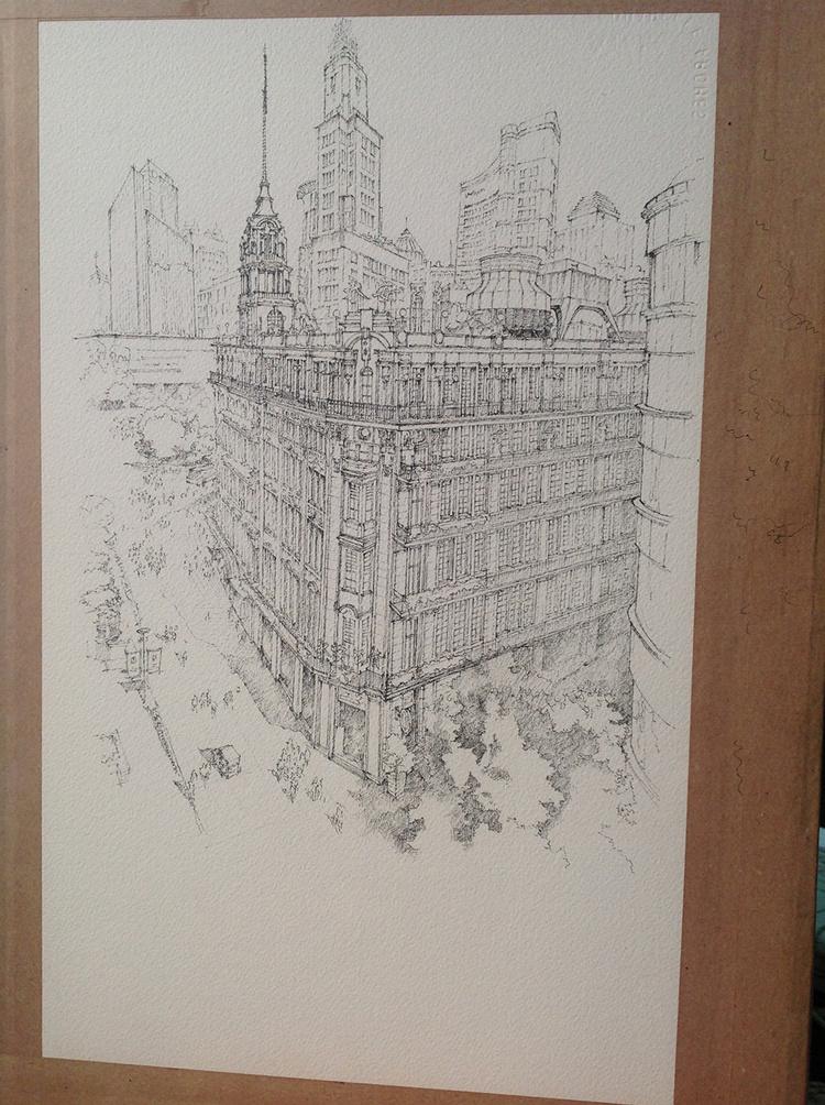 建筑手绘—上海街道俯视 (线稿过程)