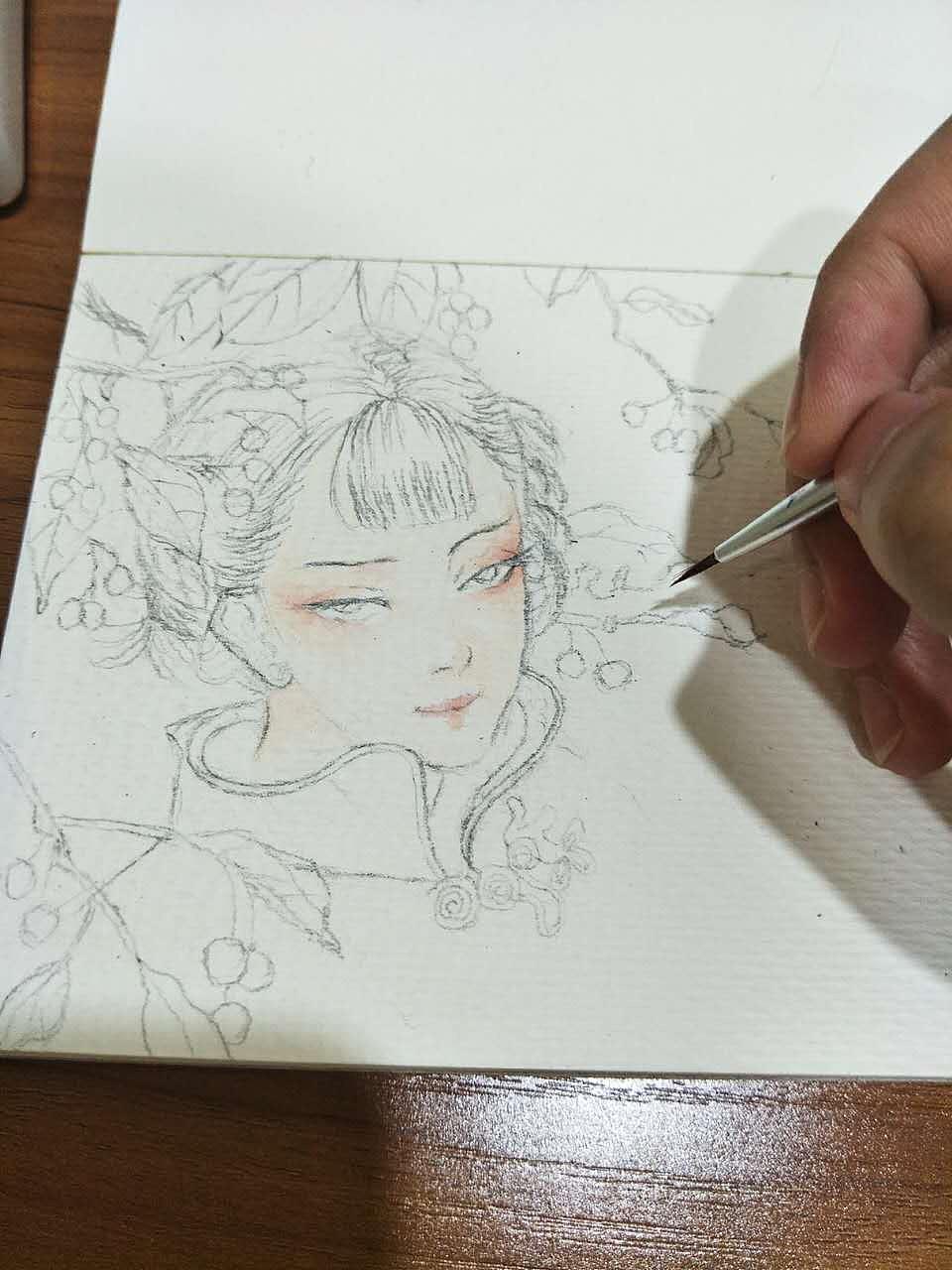 水彩古风美女(附步骤图)|插画|插画习作|兰陵王妃