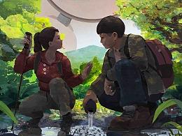 微电影《阴影之下》插画海报