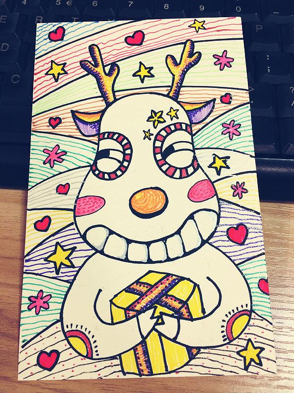 手绘圣诞明信片,祝zcool的小伙伴们节日快乐!