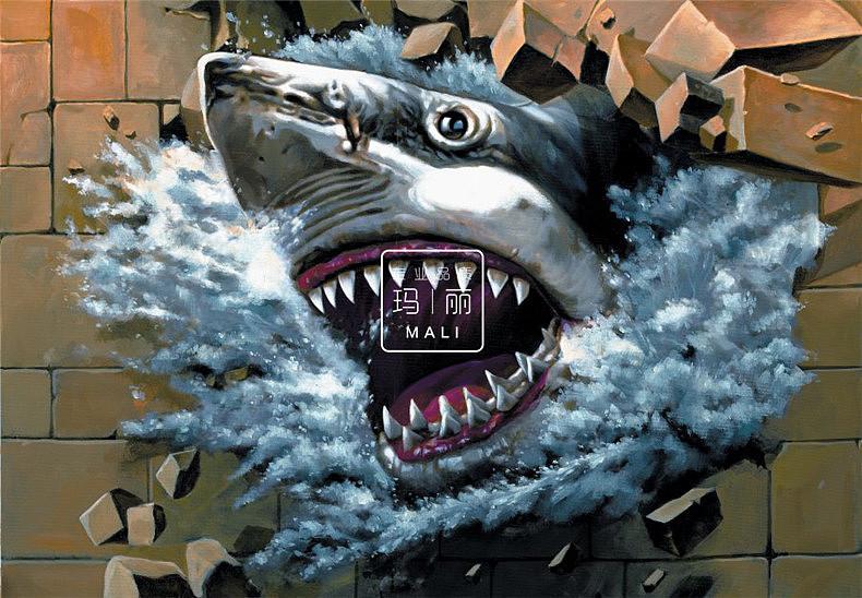 鲨鱼3d立体画