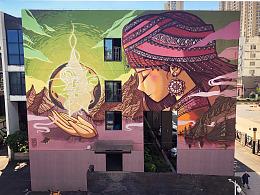 【Graffiti art】大墙涂鸦--祈福的土家族少女
