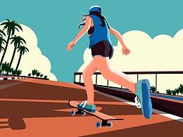 12/05-扁平风运动中的滑板少女