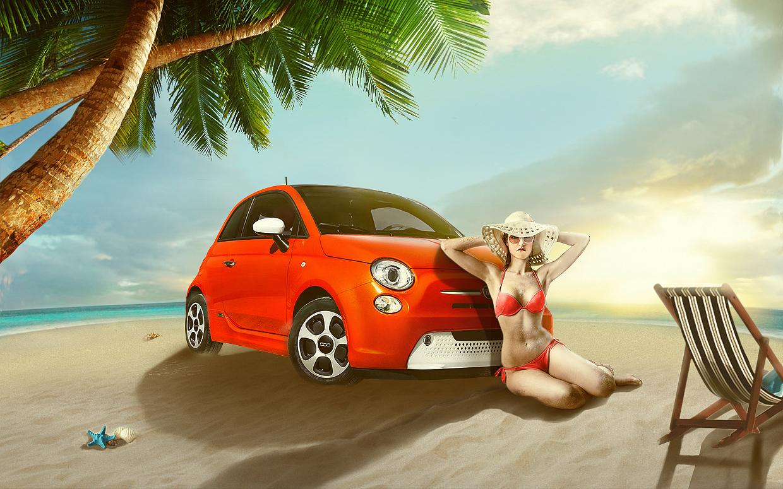 沙滩上的小车ps合成