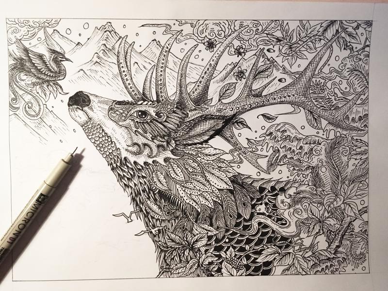 原创作品:手绘黑白神兽鹿