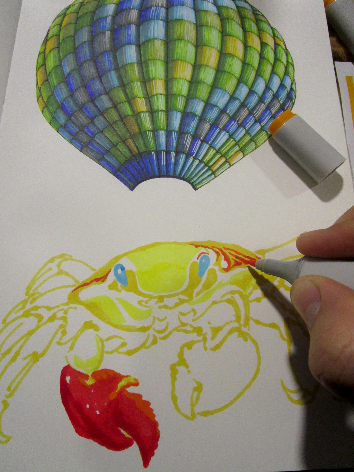 《蟹世界》马克笔手绘