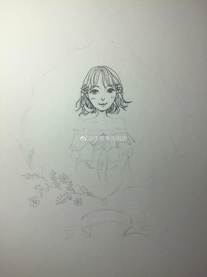 针管笔彩铅手绘女孩与花过程图教程