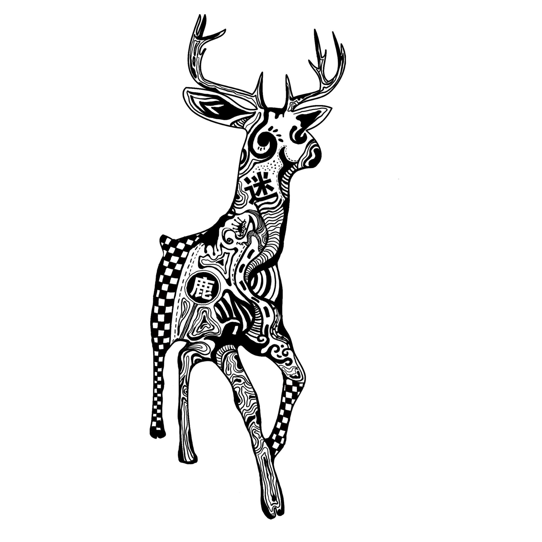 麋鹿正面图手绘