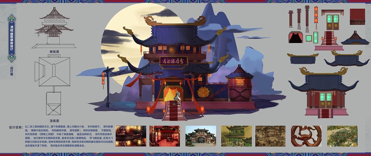 游戏场景建筑单体设计 中式西式夜晚酒店三视图效果图