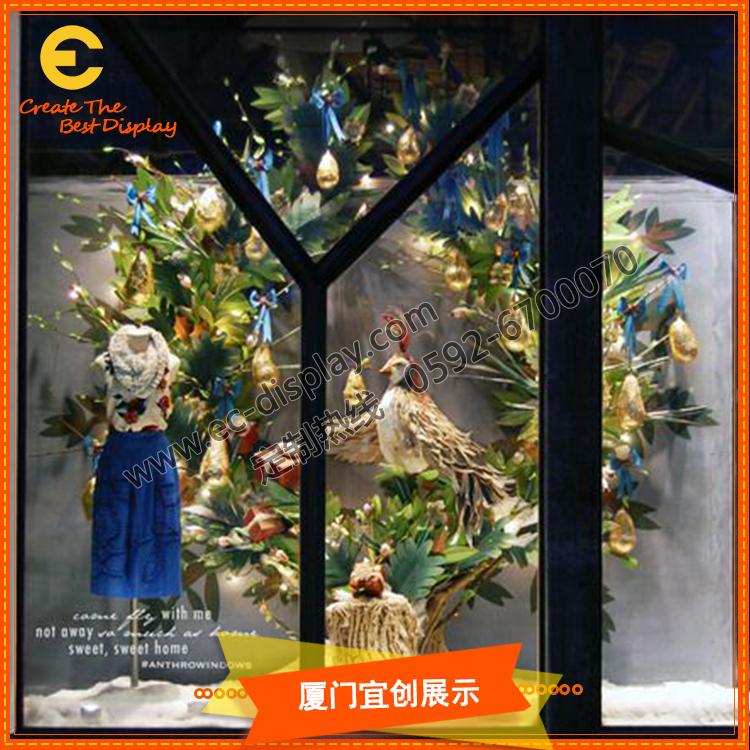 情人节圣诞节花朵橱窗展示道具