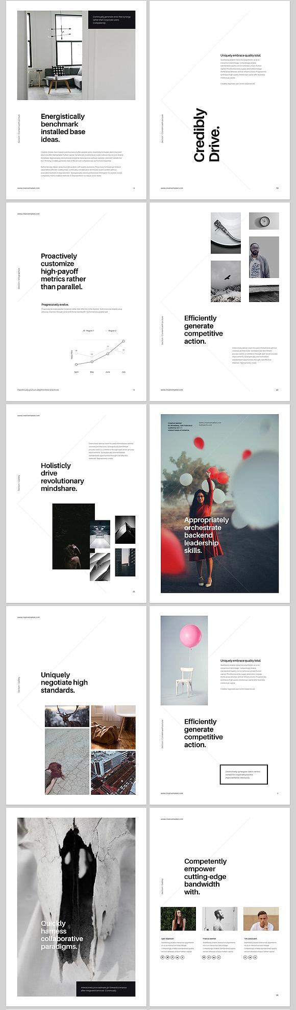 画册杂志风格排版ppt模板a4高清打印尺寸图片