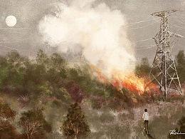 《失火》——2020年插画作品
