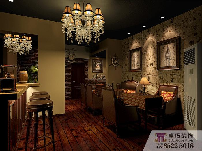 在成都装修空间大概钱?-卓巧装饰 背景 室内设计防腐木酒吧墙图片