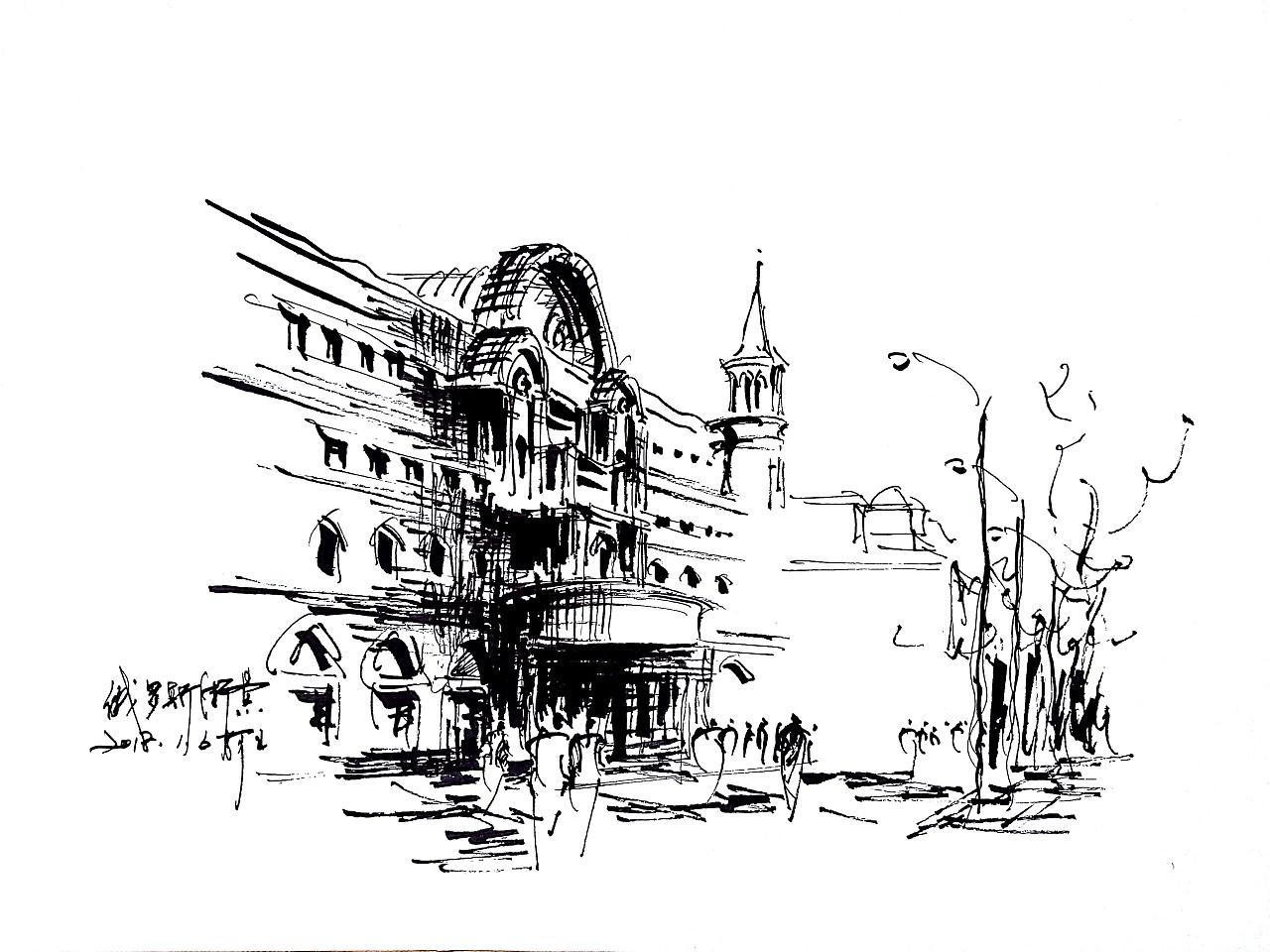 速写风景建筑速写阿王速写钢笔画