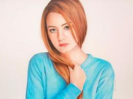 彩铅画《蓝色毛衣》