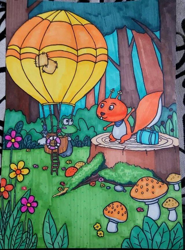 花了很久的时间才将这幅画完成,用了同学的马克笔图片