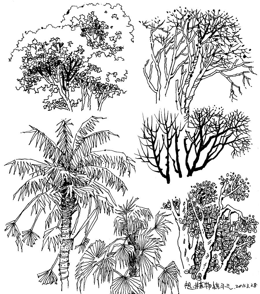 园林手绘石头画法