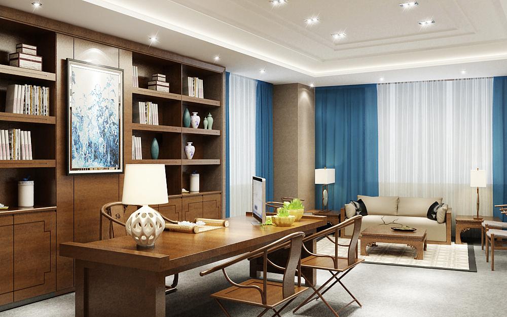 2人办公室_现代中式办公室+茶室|空间|室内设计|boy玄 - 原创作品 - 站酷 (ZCOOL)