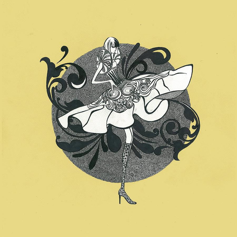 原创作品:黑白手绘装饰插画