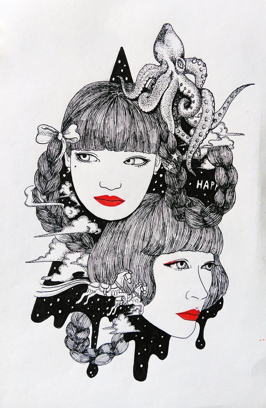 一些黑白手绘-1|绘画习作|插