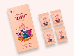 蓝莓包装插画、食品包装设计、手绘插画、商业插画