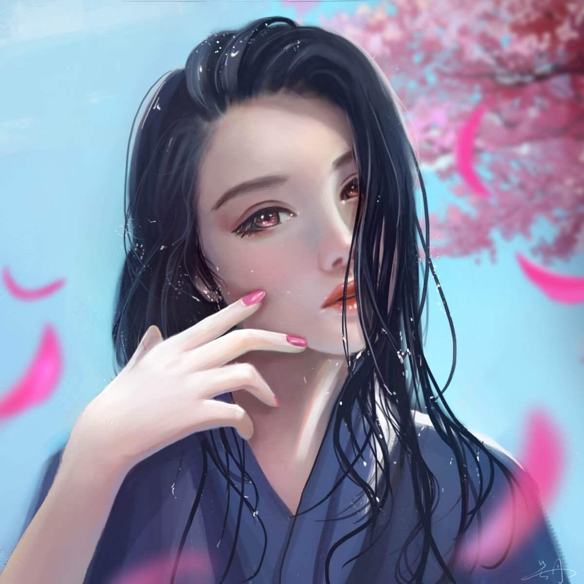 头像女 樱花 蓝天 好天气