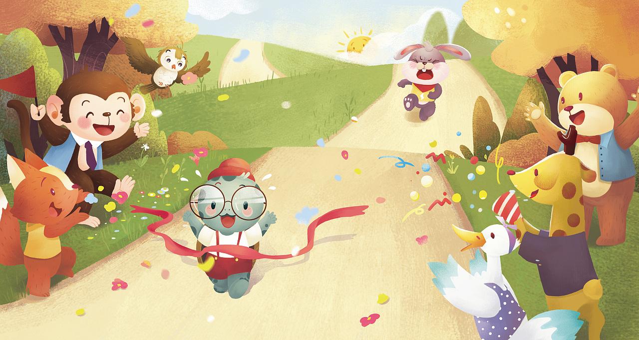 龟兔赛跑连环画图片大全,绘画图片,儿童文艺-绘艺素材网