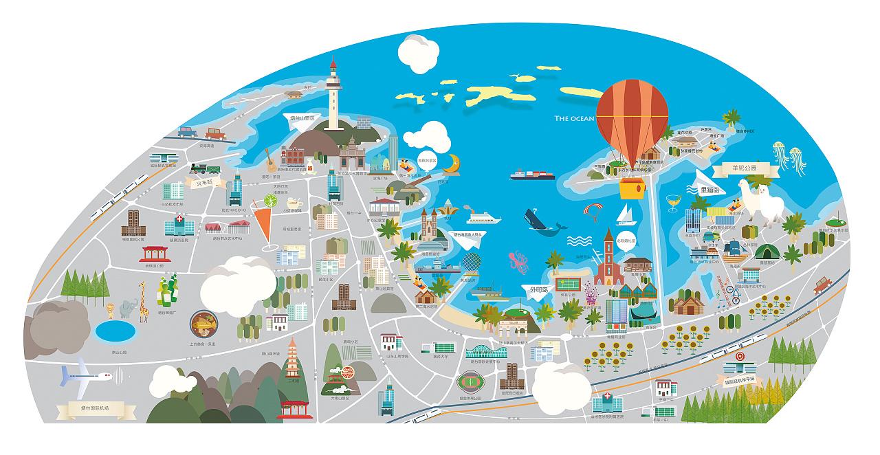 【手绘地图】烟台3.0版—沙盘模型 - 原创作品 - 站酷