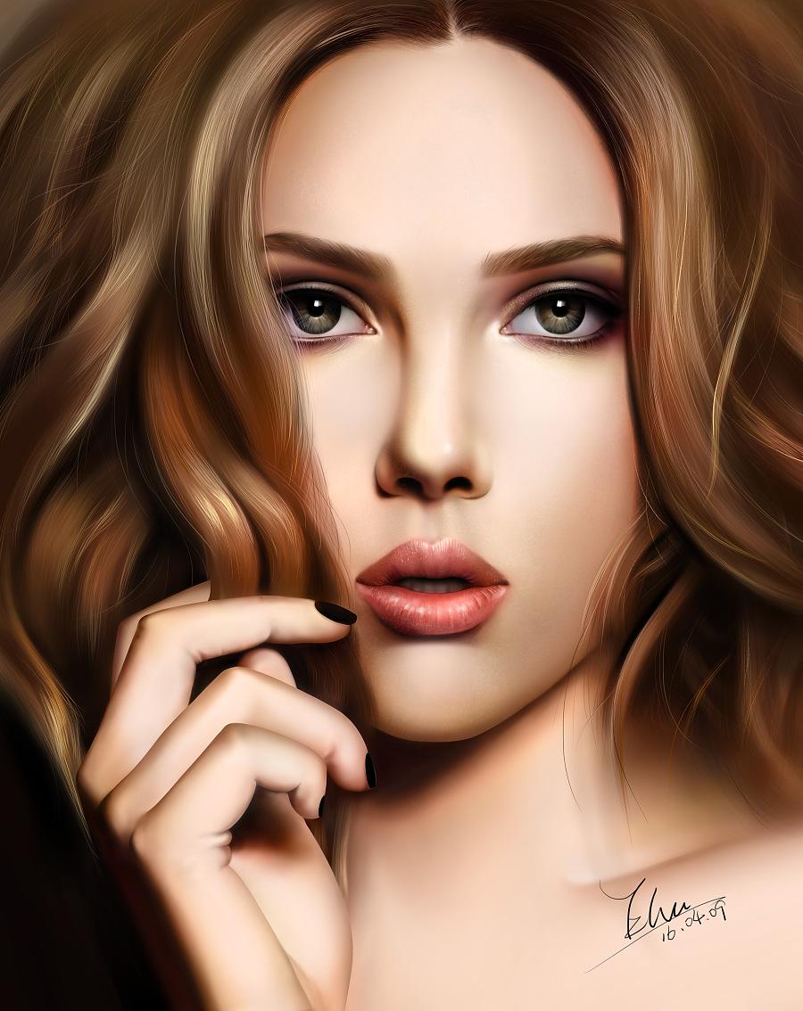 手绘写实美女