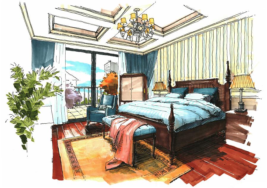 一套别墅设计的手绘图|室内设计|空间|1932的猫