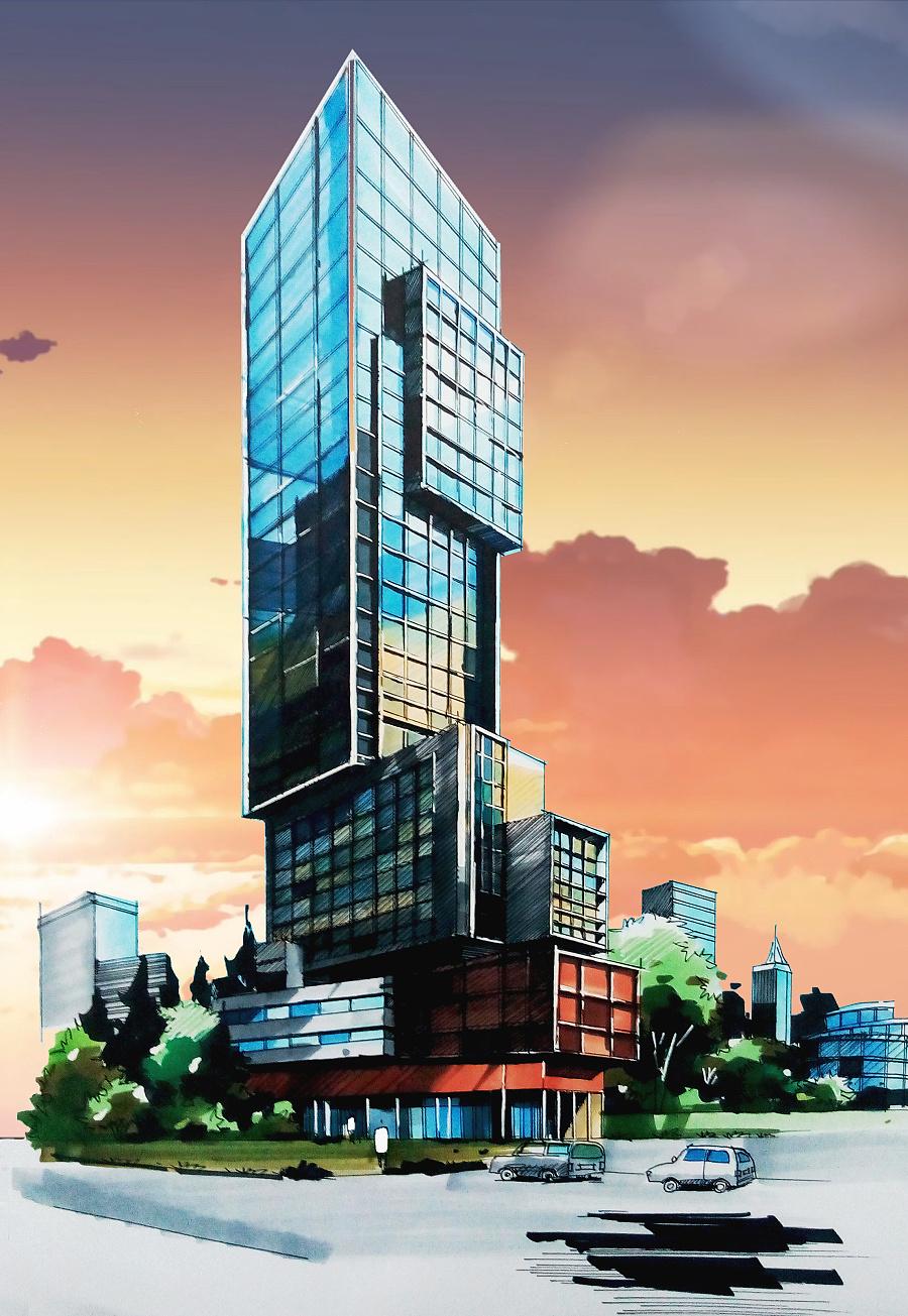 使用了:其他 - 针管笔        手绘建筑,p上秒速五厘米的背景天空