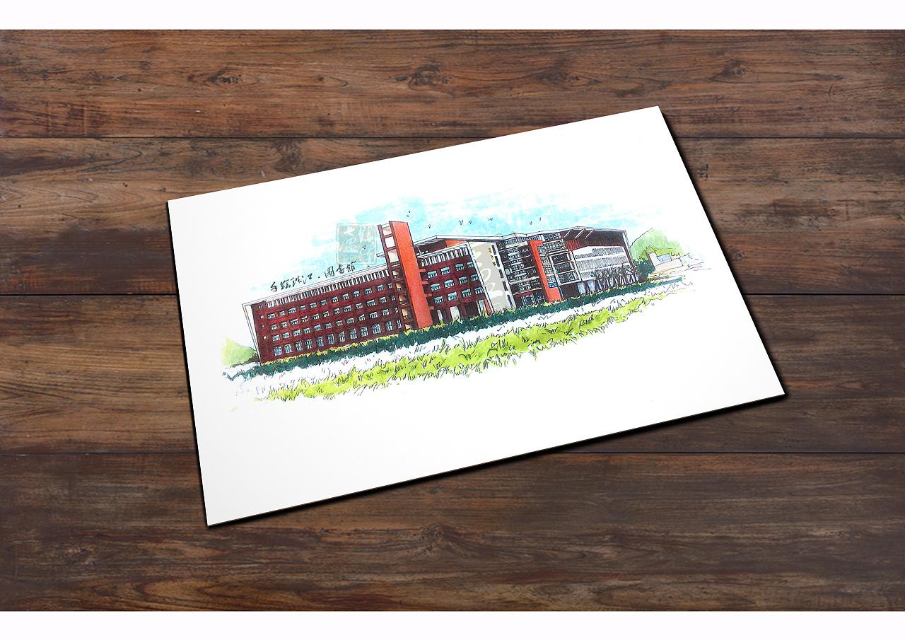 手绘.珠江学院/从化景点(明信片,书签)