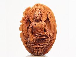 《阿弥陀佛》桃核雕刻