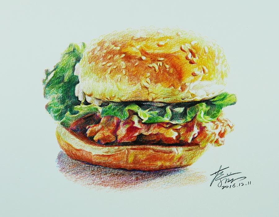 彩铅画:汉堡包图片