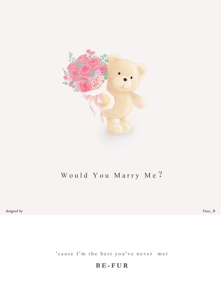 手绘小熊求婚贺卡图案