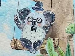 可爱的懒小萌们-儿童水彩绘本插画