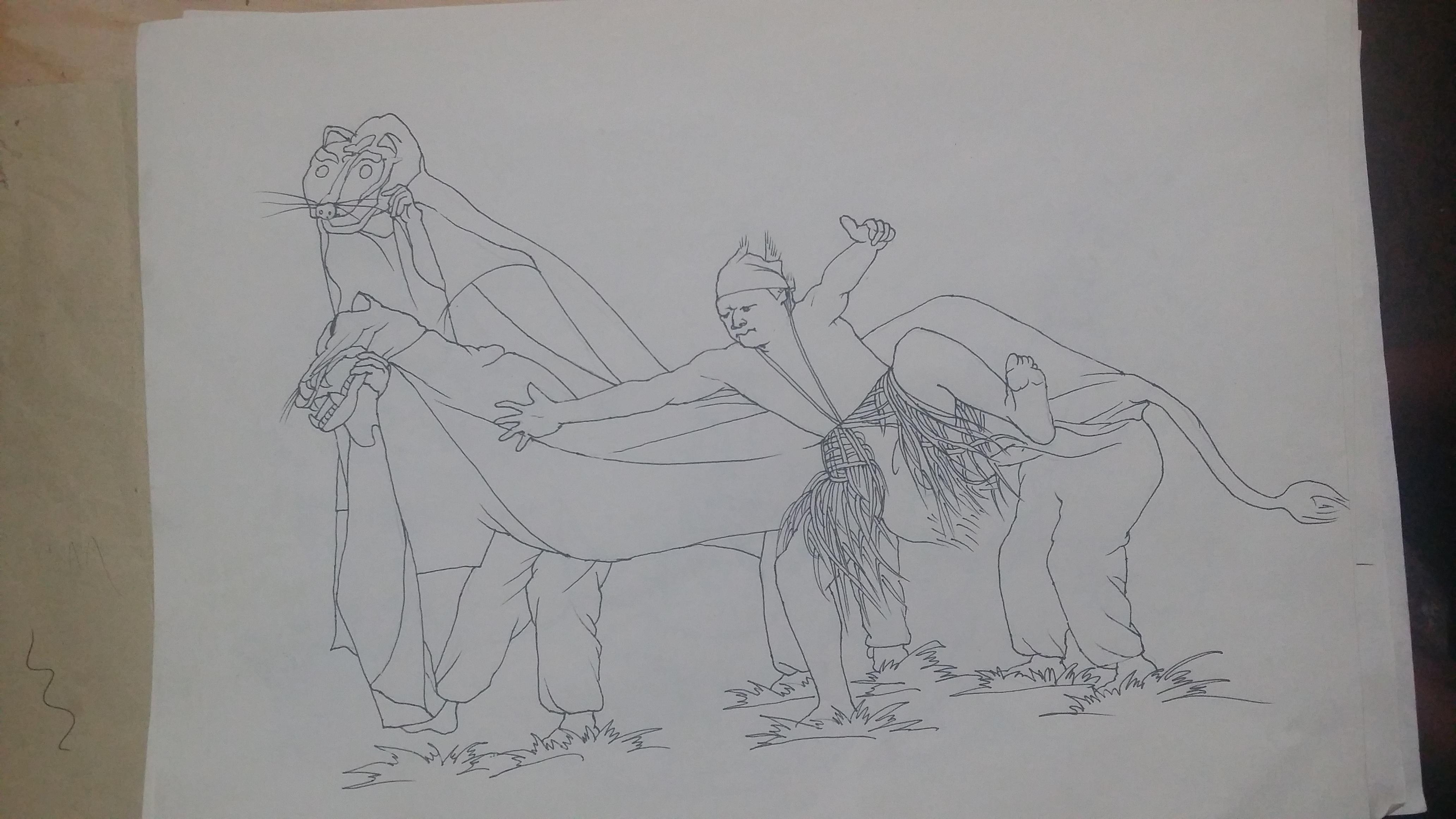 彝族阿细墙体彩绘设计手绘稿!