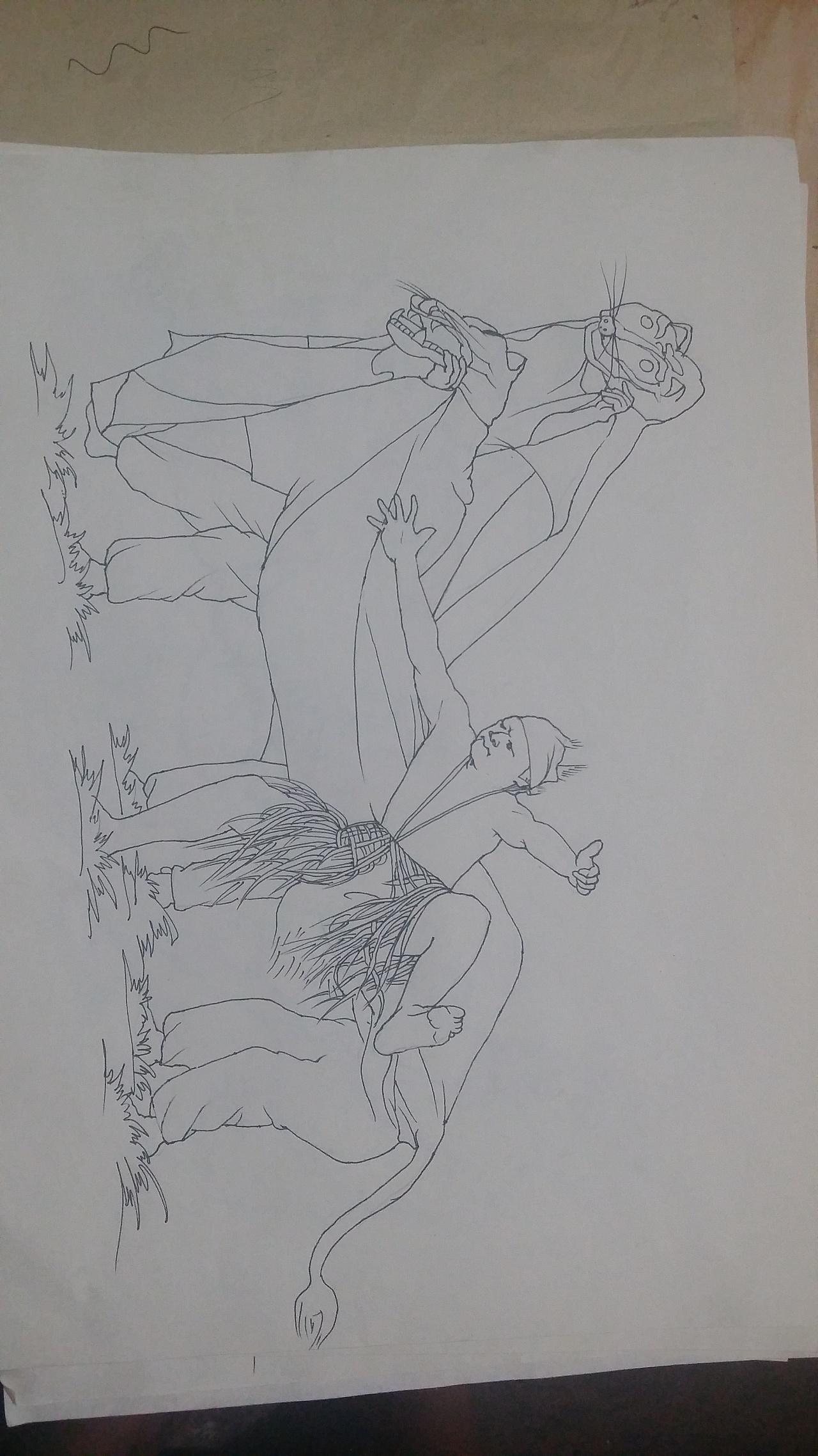 云南彝族阿细墙体彩绘手绘设计稿