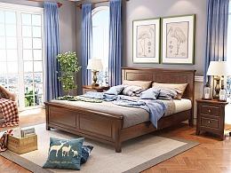 美式实木床设计,家具3D效果图制作,家具3D建模渲染