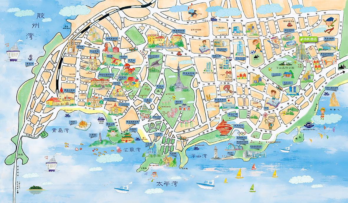青岛 手绘 旅游 地图 时间过去一年,一直想写一篇做这份地图的心路历程。无奈之前工作一直太忙,然后自己也太懒。懒得整理,懒得思考反思。现在换了新工作,工作强度比之前好很多,有时间回顾自己之前的作品。发现这份地图是去年最耗费我精力的东西。 这份地图是跟一家酒店一家青旅合作的。从刚开始的找参考,规划实际需要的景点,然后实地景点游览拍照,网上搜合适的景点素材。反面版面安排,推荐店铺文字介绍润色。。 全部排版完成之后,校稿,打样。打样过程中又遇到各种颜色失真的问题,经过反复调整修改最后定稿。 画这幅地图的时候工