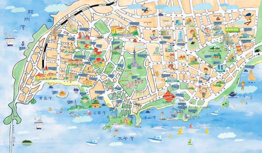 青岛手绘旅游地图|商业插画|插画|陈怡霏 - 原创