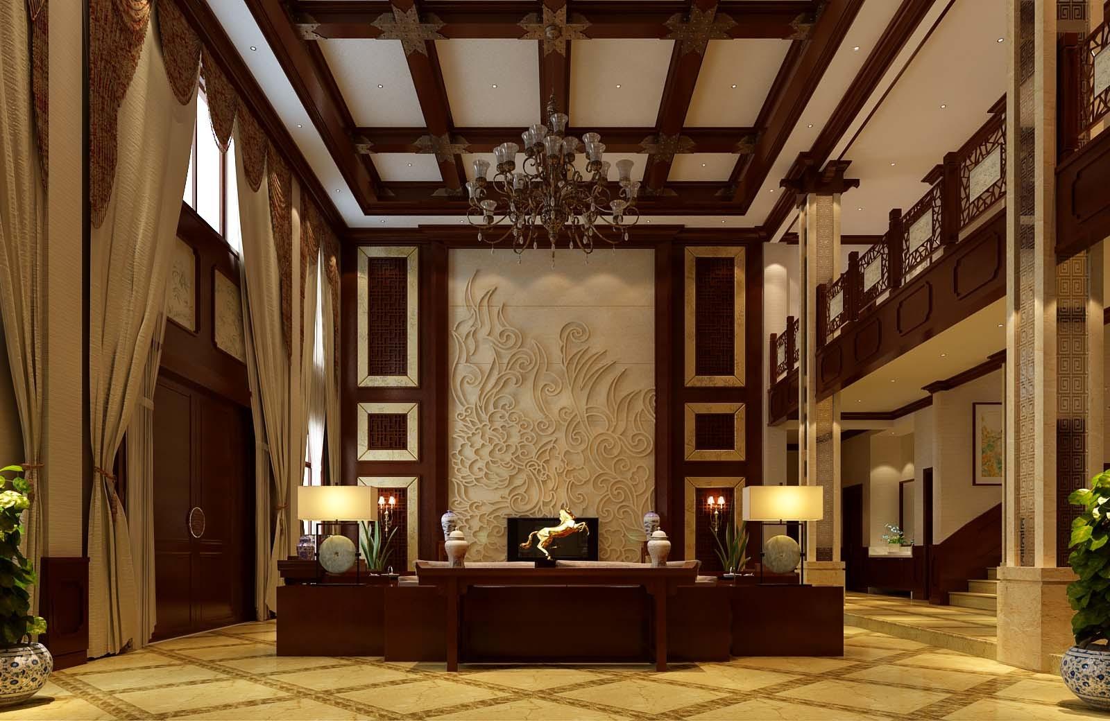 郑州自建1000平样板设计中式铜门装修别墅间设计风格别墅仿大门图片