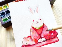 【从零学会画水彩】《和风小兔子》动物篇vol.29