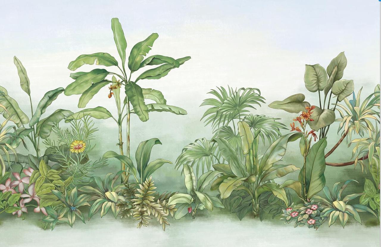 思舍手绘欧式风景图热带雨林壁纸壁画