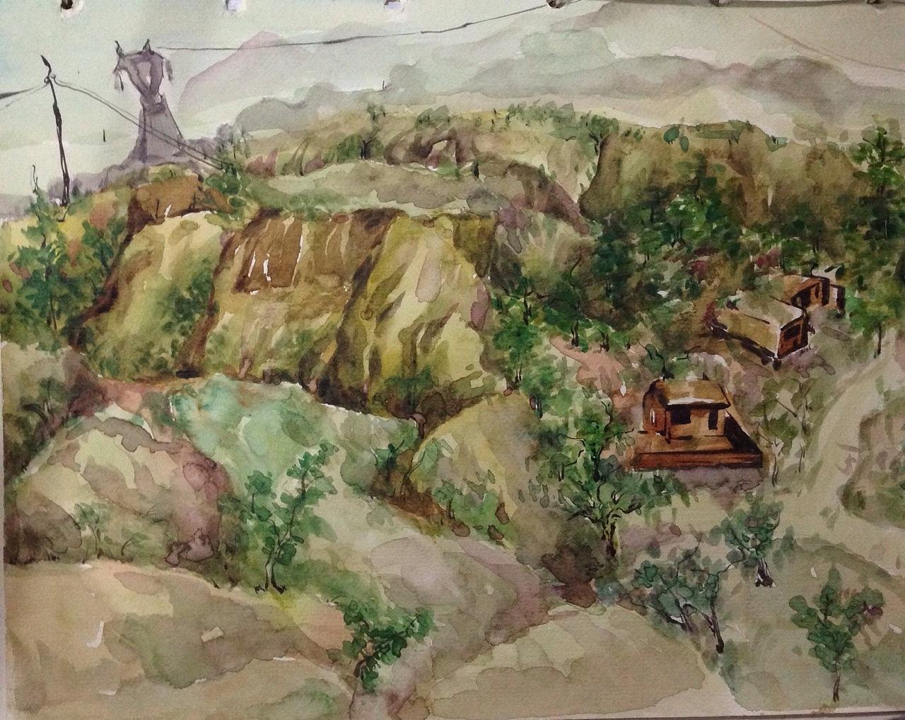 古镇水彩风景写生图片