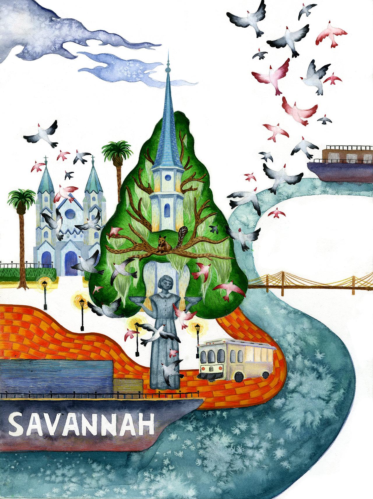 萨凡娜城市海报,手绘,水彩 彩铅.